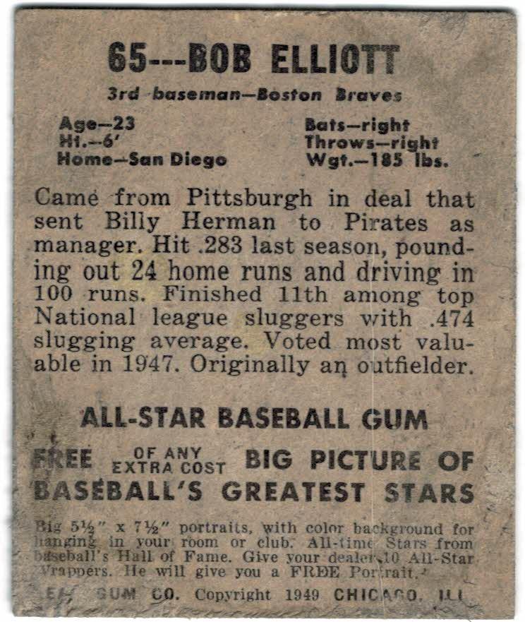 1949 Leaf #65 Bob Elliott UER back image