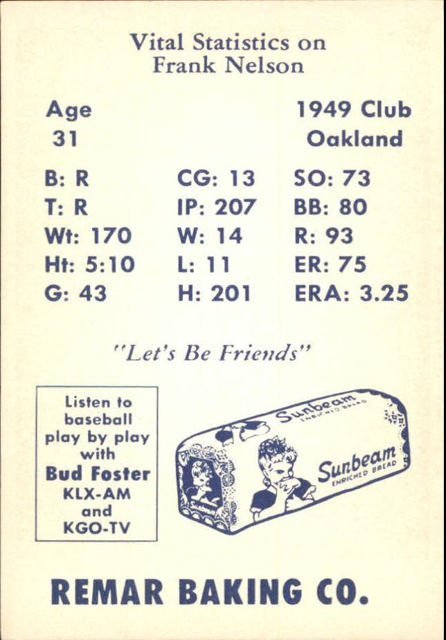 1950 Remar Bread #18 Frank Nelson back image