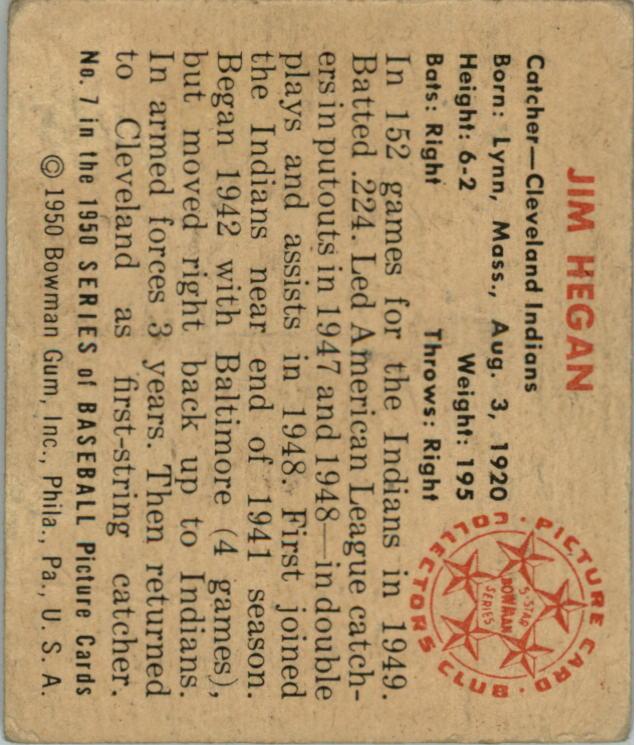1950 Bowman #7 Jim Hegan back image