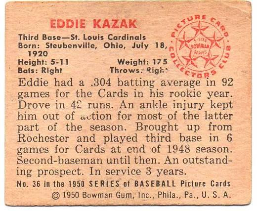 1950 Bowman #36 Eddie Kazak RC back image