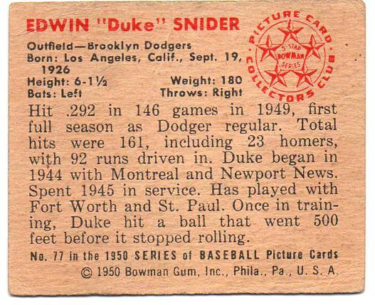 1950 Bowman #77 Duke Snider back image
