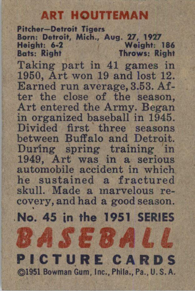 1951 Bowman #45 Art Houtteman back image