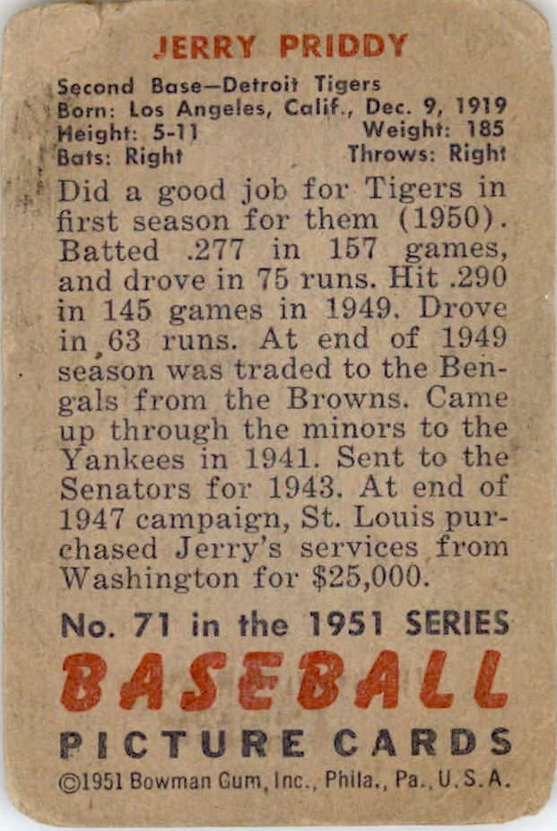 1951 Bowman #71 Jerry Priddy back image