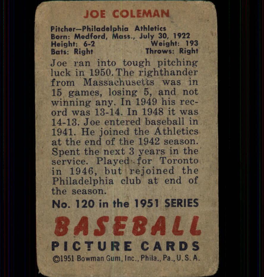 1951 Bowman #120 Joe Coleman back image