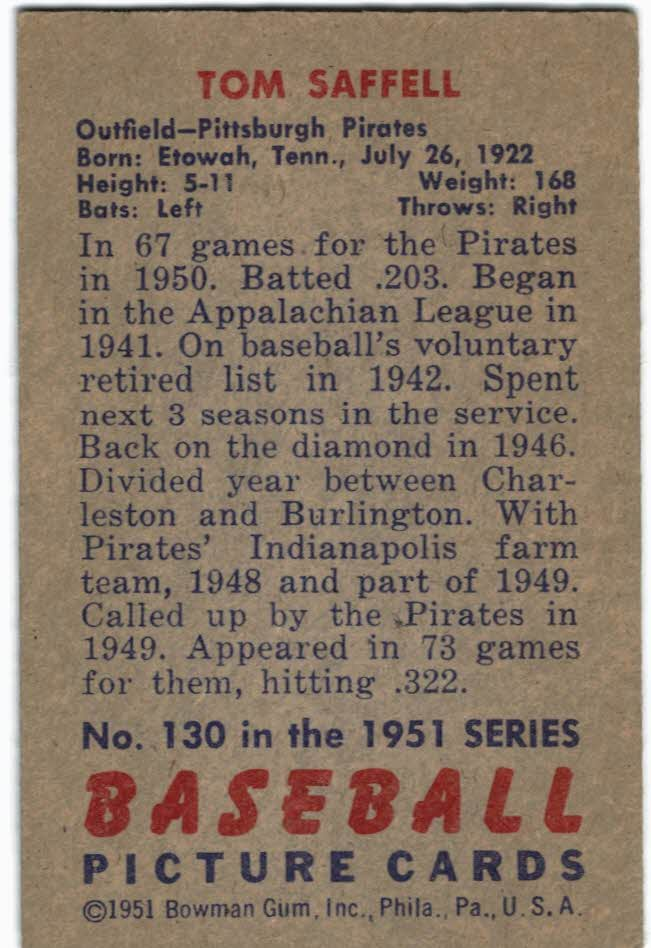 1951 Bowman #130 Tom Saffell RC back image