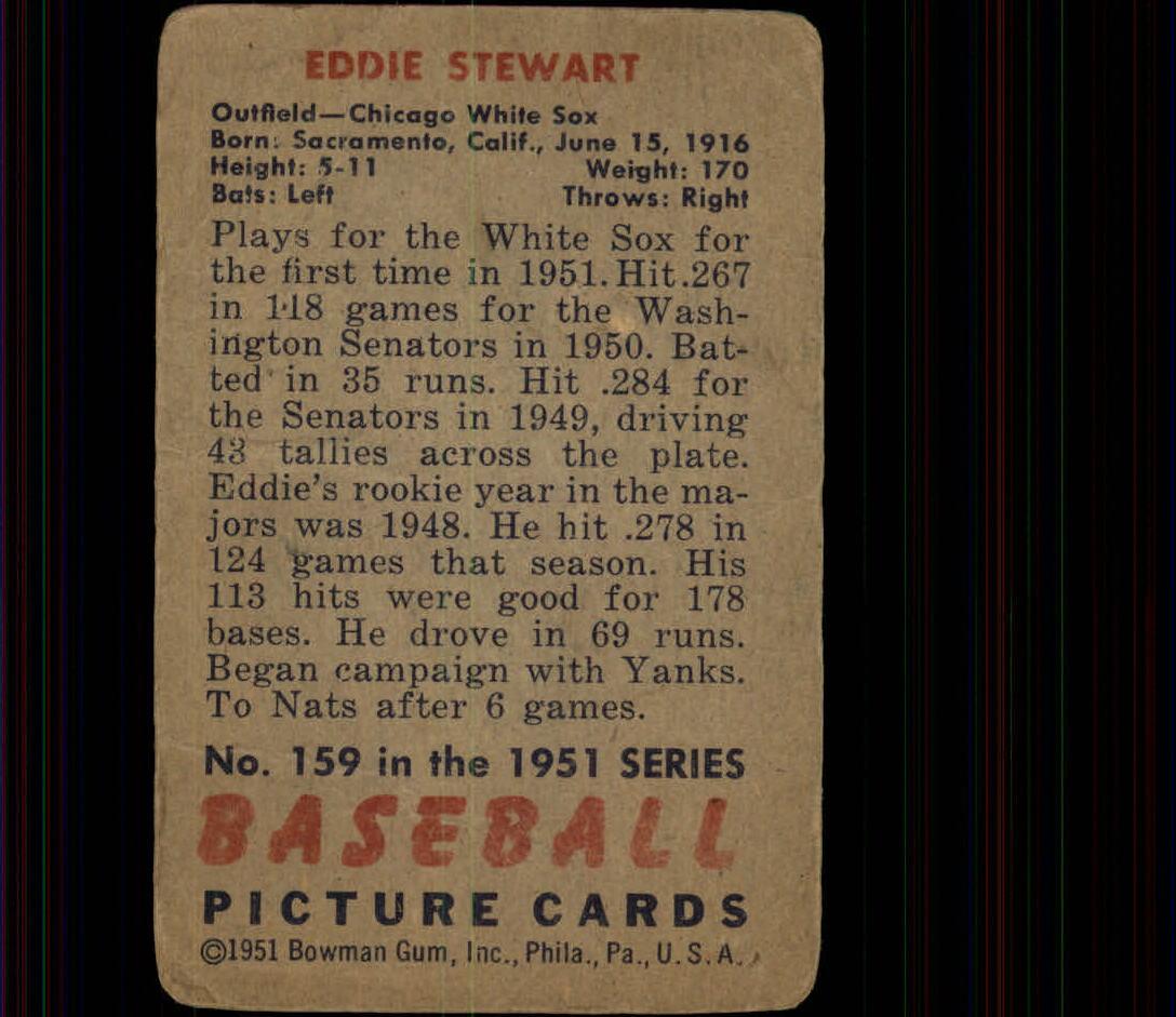 1951 Bowman #159 Eddie Stewart back image