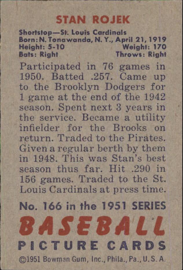 1951 Bowman #166 Stan Rojek back image