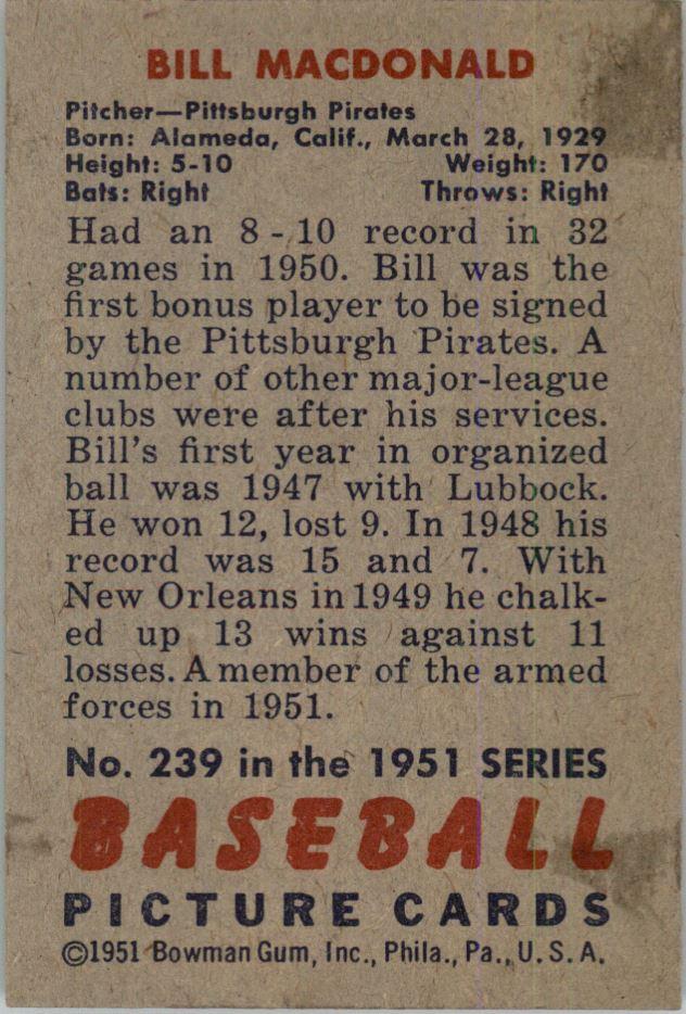 1951 Bowman #239 Bill MacDonald RC back image