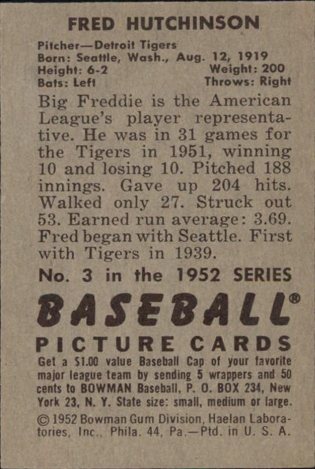 1952 Bowman #3 Fred Hutchinson back image