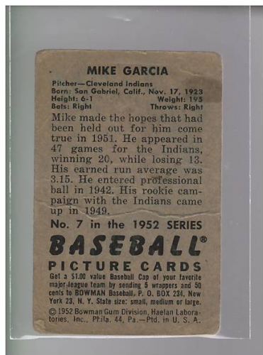 1952 Bowman #7 Mike Garcia back image