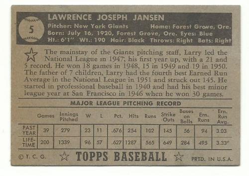 1952 Topps #5A Larry Jansen Black back image