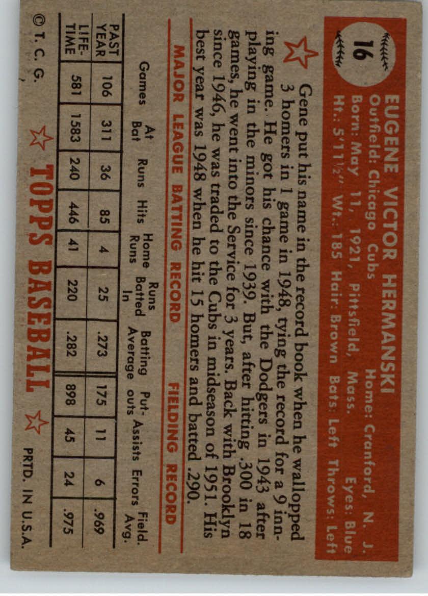 1952 Topps #16 Gene Hermanski back image