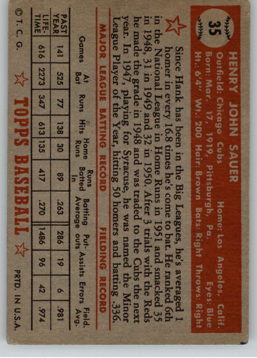 1952 Topps #35 Hank Sauer back image