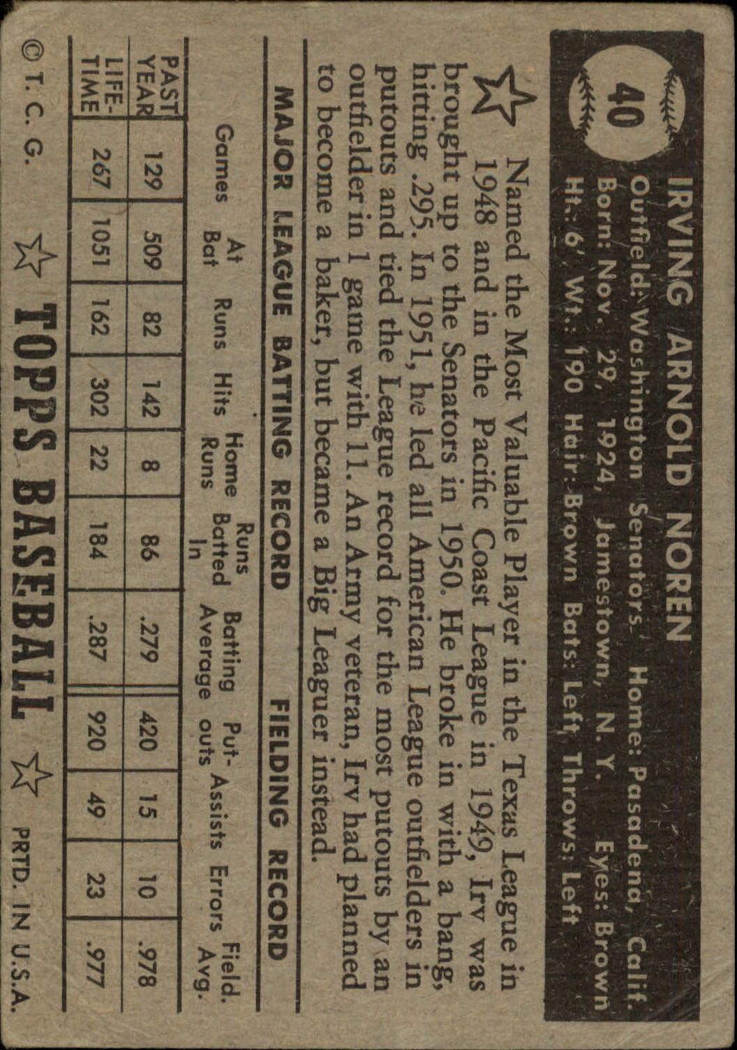 1952 Topps #40A Irv Noren Black back image