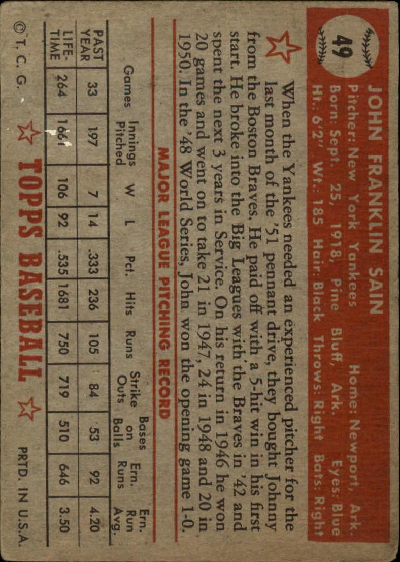 1952 Topps #49C John Sain COR/Red Back back image