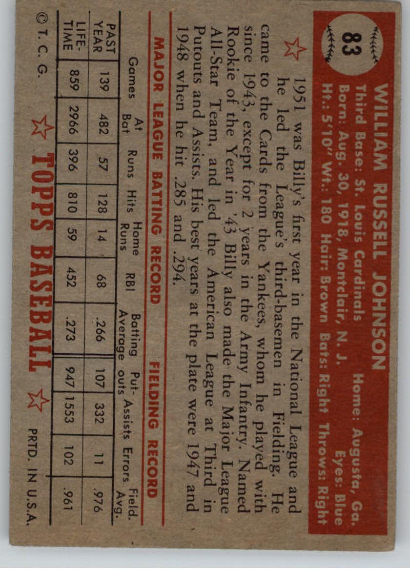 1952 Topps #83 Billy Johnson back image