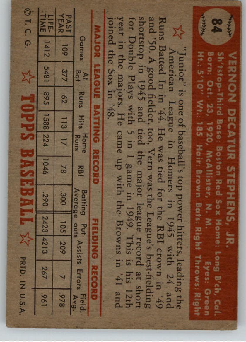 1952 Topps #84 Vern Stephens back image