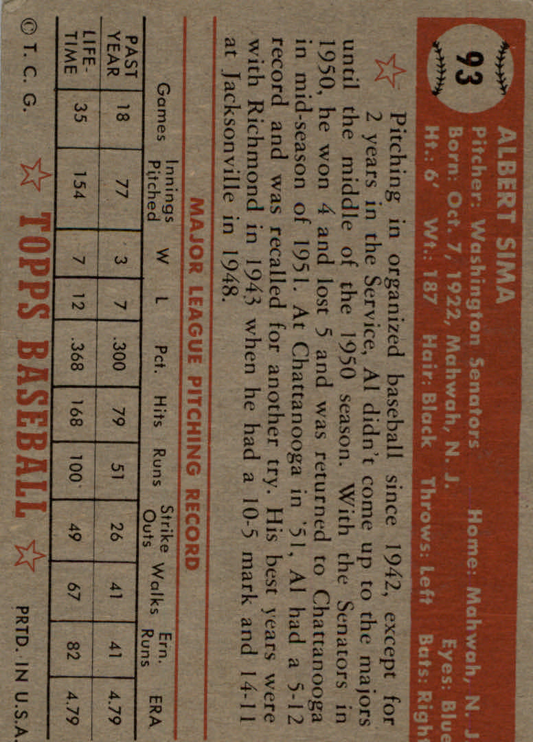 1952 Topps #93 Al Sima RC back image