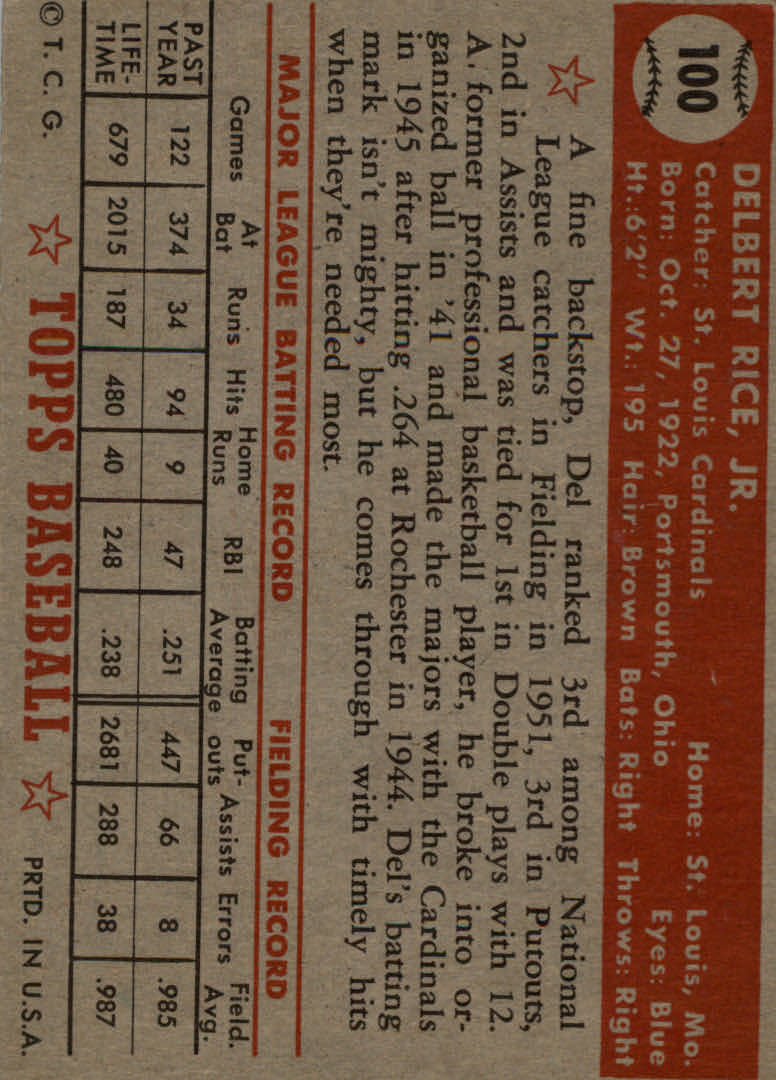 1952 Topps #100 Del Rice back image
