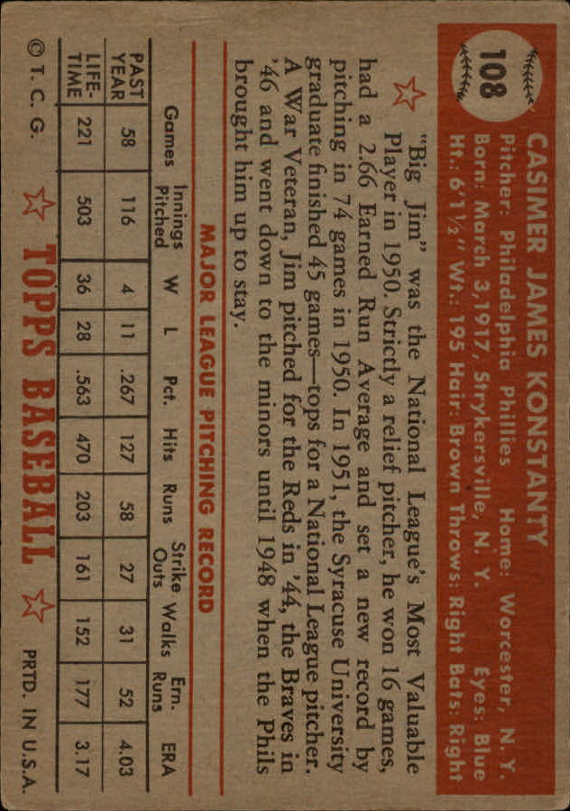 1952 Topps #108 Jim Konstanty back image