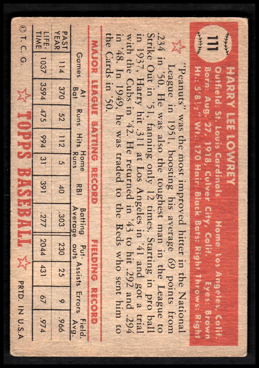1952 Topps #111 Peanuts Lowrey back image