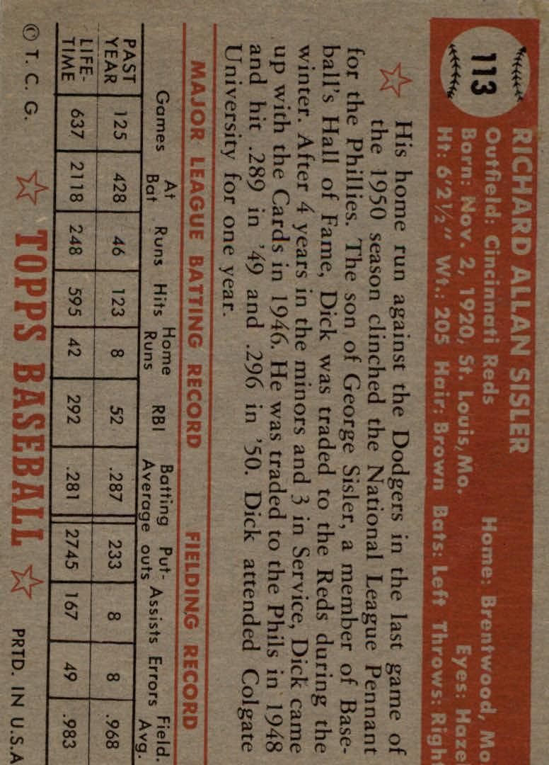 1952 Topps #113 Dick Sisler back image