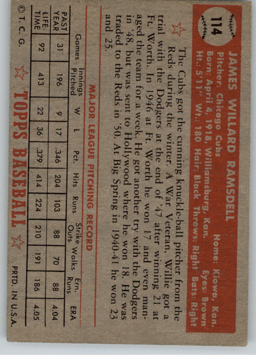 1952 Topps #114 Willard Ramsdell back image