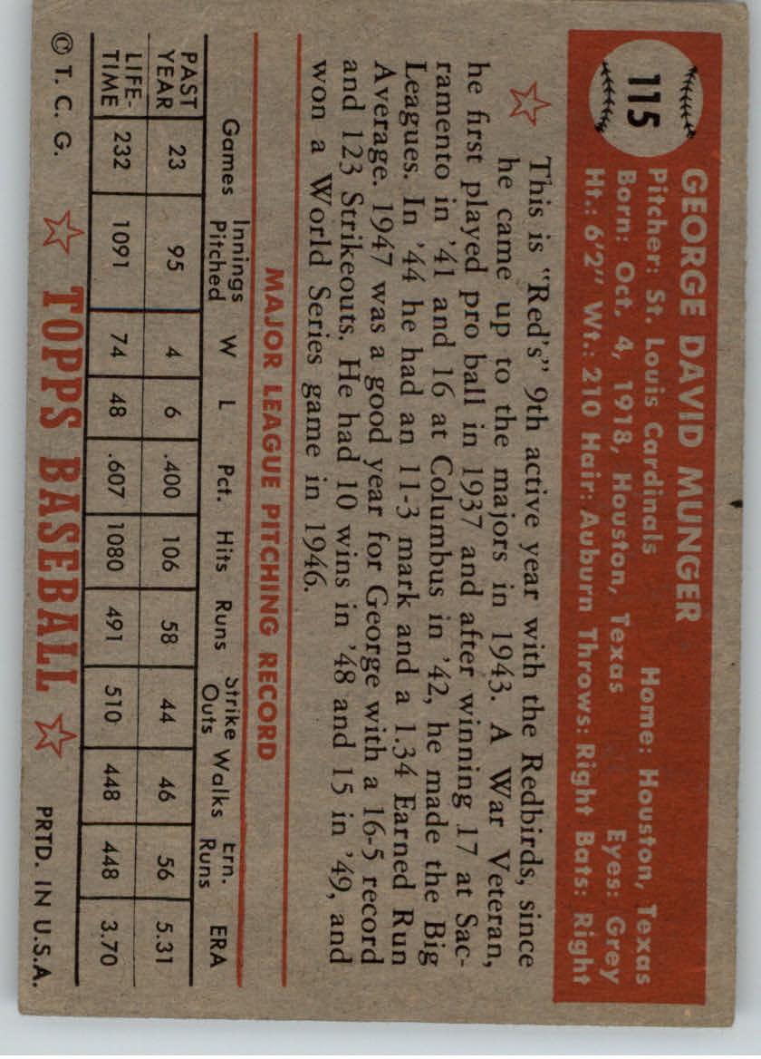 1952 Topps #115 George Munger back image