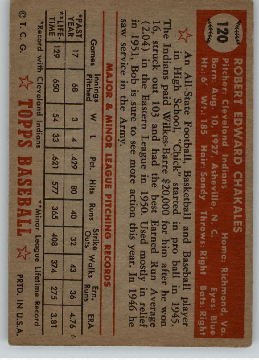 1952 Topps #120 Bob Chakales RC back image