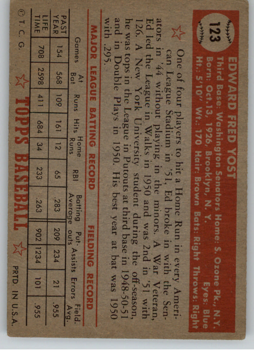 1952 Topps #123 Eddie Yost back image