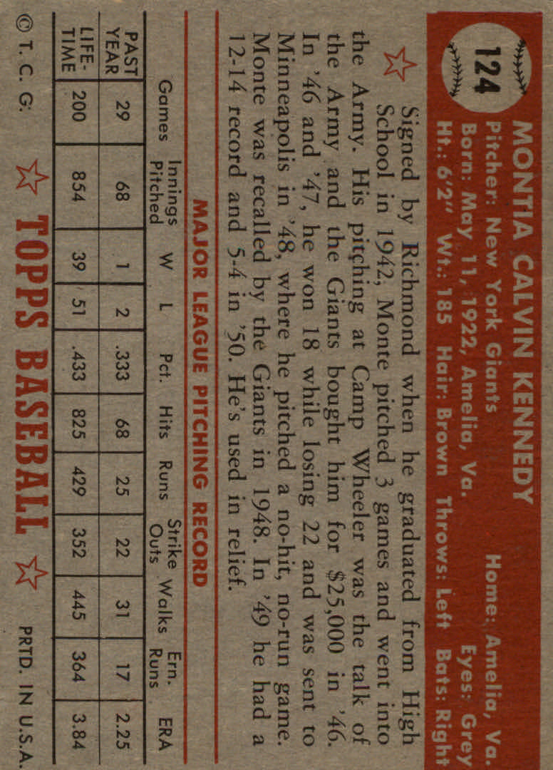 1952 Topps #124 Monte Kennedy back image