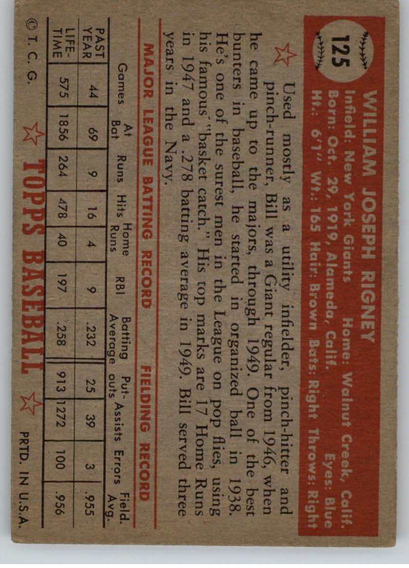 1952 Topps #125 Bill Rigney back image