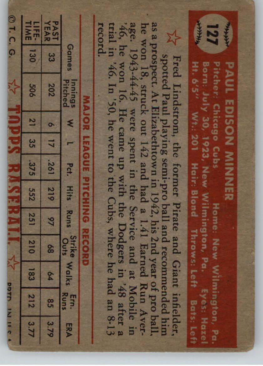 1952 Topps #127 Paul Minner RC back image