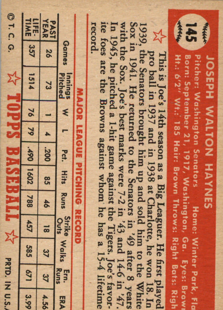 1952 Topps #145 Joe Haynes back image