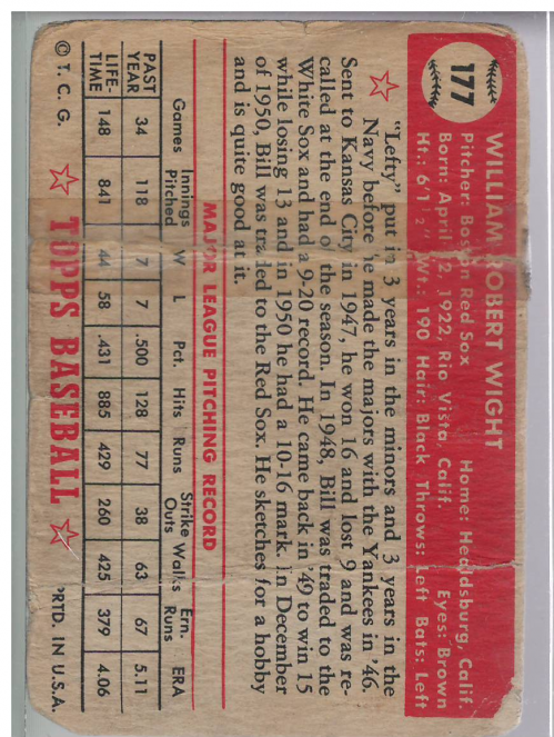 1952 Topps #177 Bill Wight back image