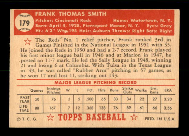 1952 Topps #179 Frank Smith RC back image
