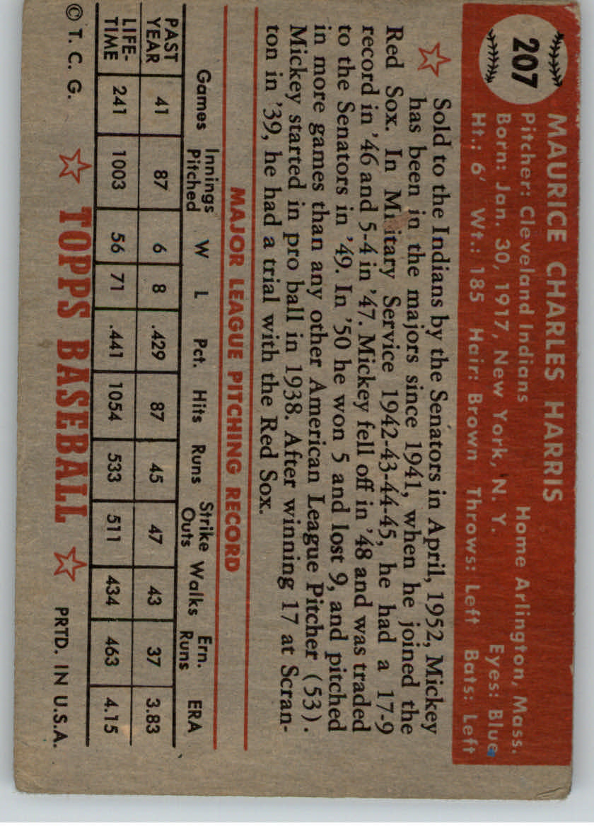 1952 Topps #207 Mickey Harris back image