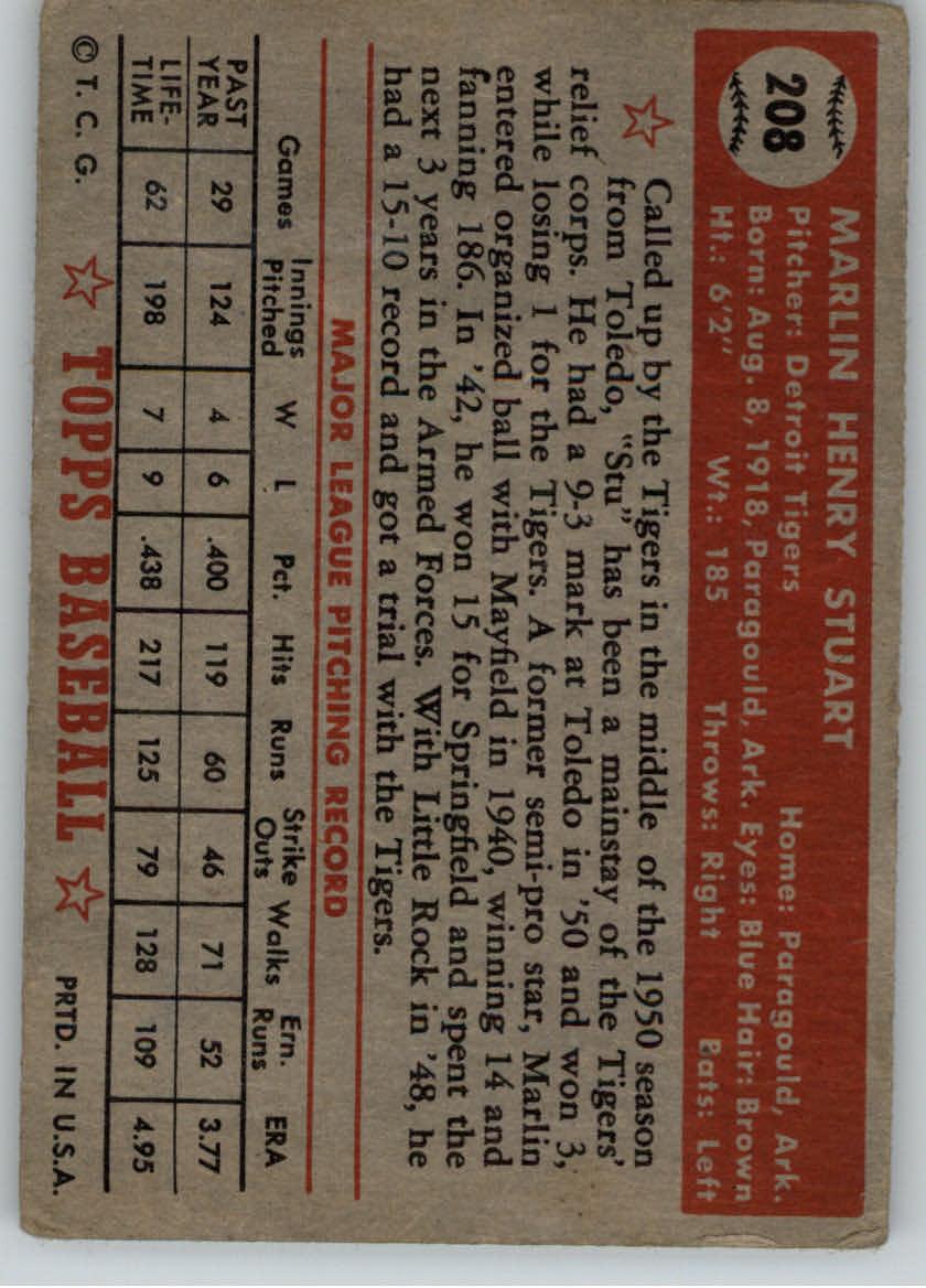 1952 Topps #208 Marlin Stuart RC back image