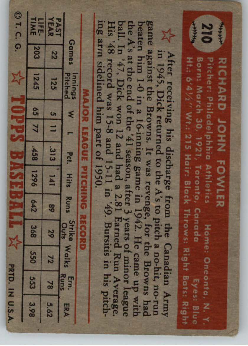 1952 Topps #210 Dick Fowler back image