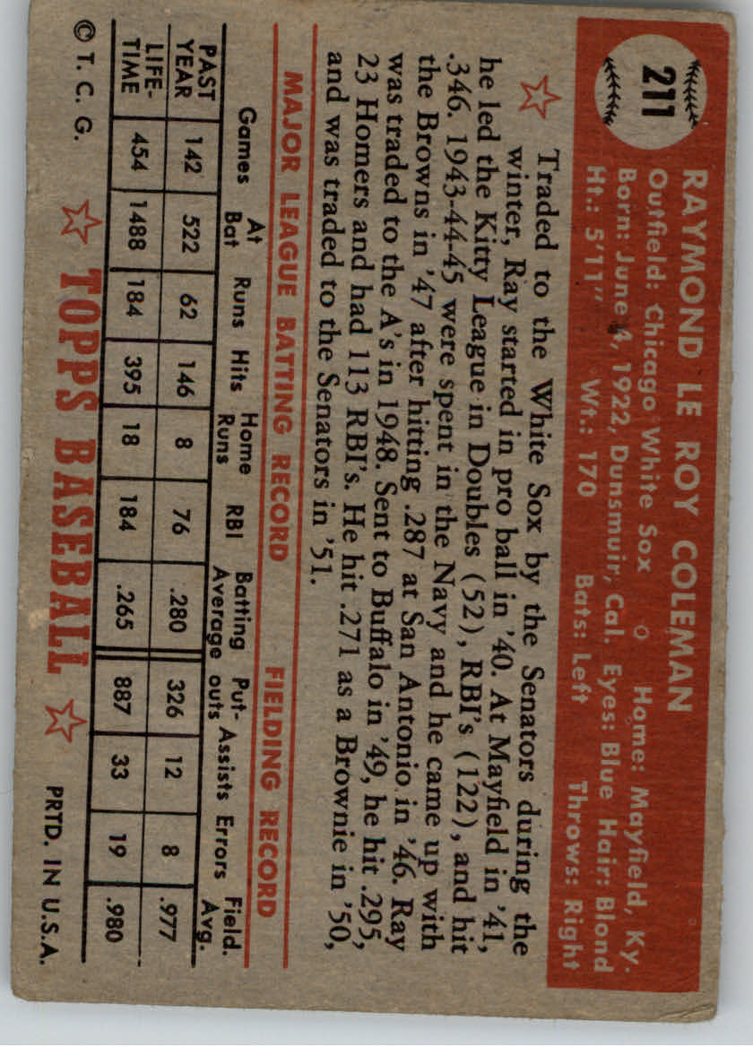 1952 Topps #211 Ray Coleman back image