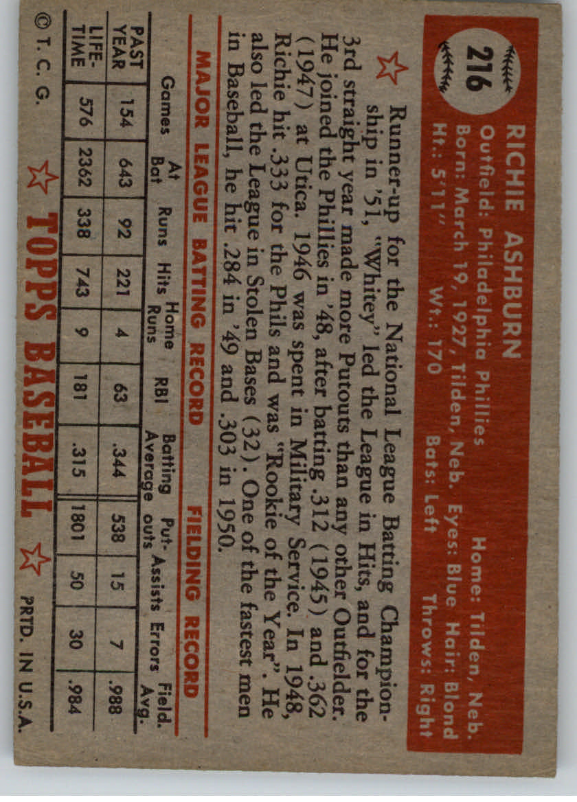1952 Topps #216 Richie Ashburn back image