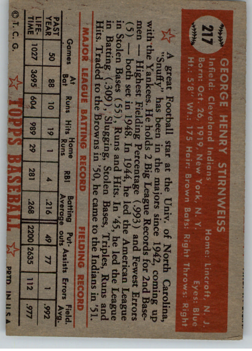1952 Topps #217 Snuffy Stirnweiss back image