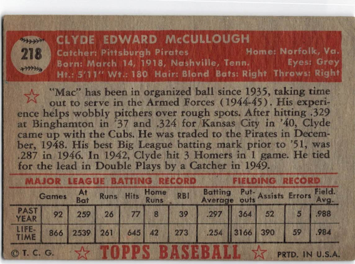 1952 Topps #218 Clyde McCullough back image