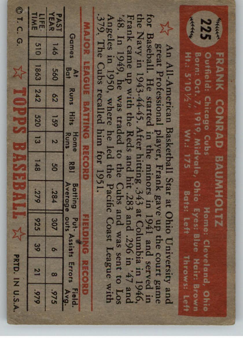 1952 Topps #225 Frank Baumholtz back image