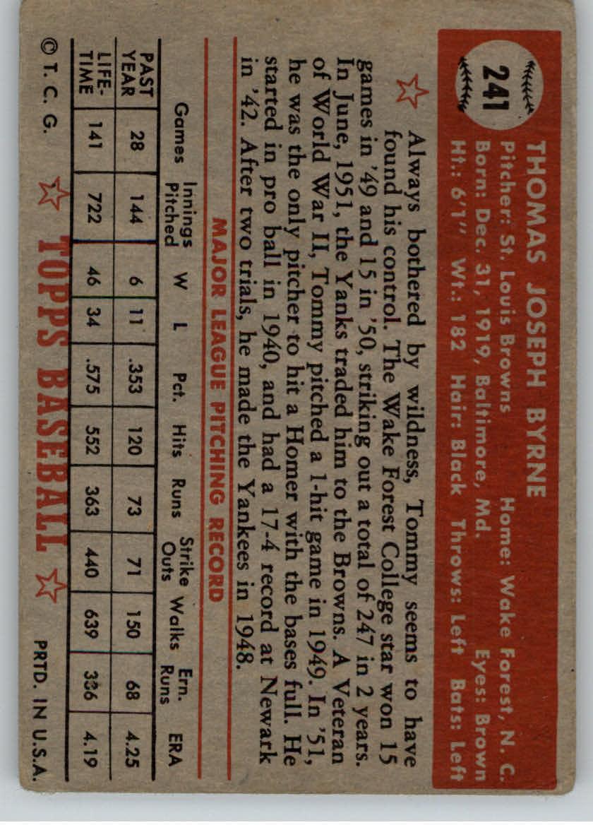 1952 Topps #241 Tommy Byrne back image