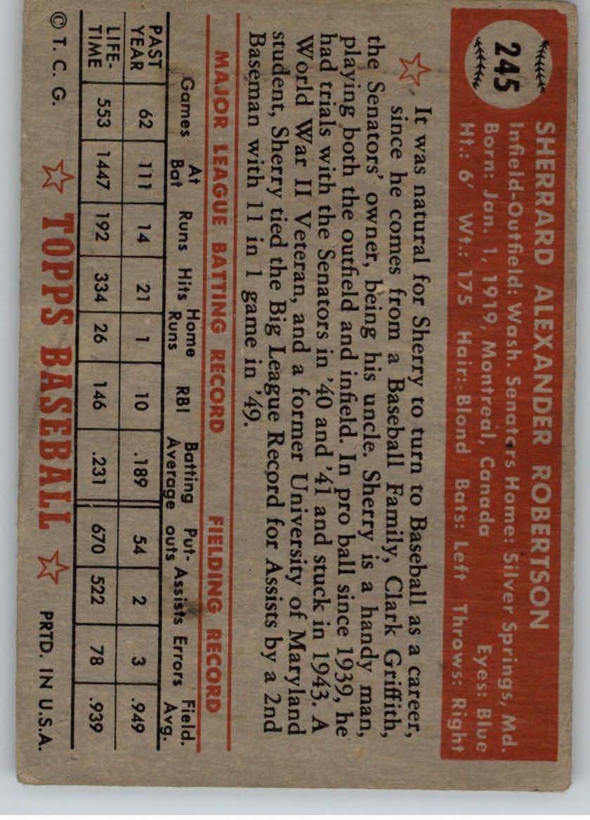 1952 Topps #245 Sherry Robertson back image