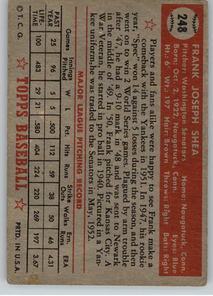 1952 Topps #248 Frank Shea back image