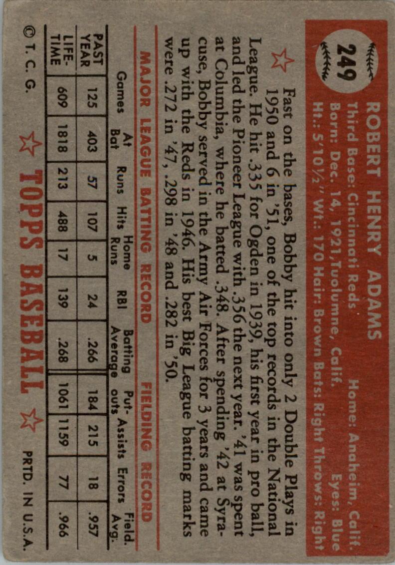 1952 Topps #249 Bobby Adams back image