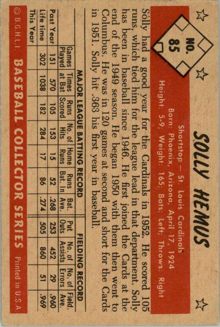 1953 Bowman Color #85 Solly Hemus back image