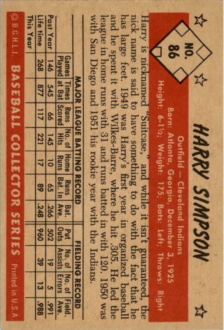 1953 Bowman Color #86 Harry Simpson back image